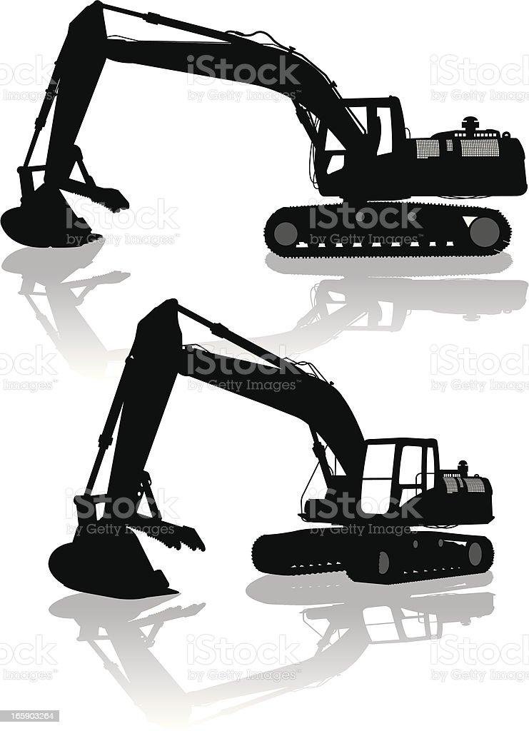 Excavator - Construction, Heavy Equipment vector art illustration