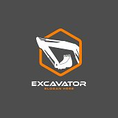Excavator design in modern flat style isolated on white background. sign/symbols for heavy equipment,construction,industrial etc. Excavator symbol for your web site design, sign/symbols, app, UI. vector illustration