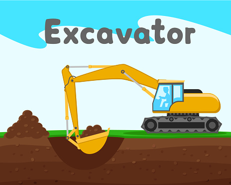 Excavator digs a hole in nature. Construction machinery