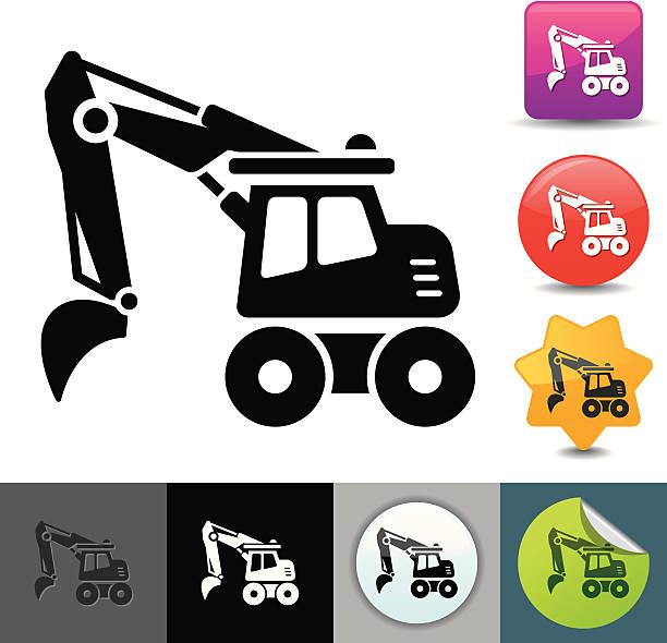 Excavator icon | solicosi series vector art illustration