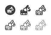 Excavator Icons Multi Series Vector EPS File.