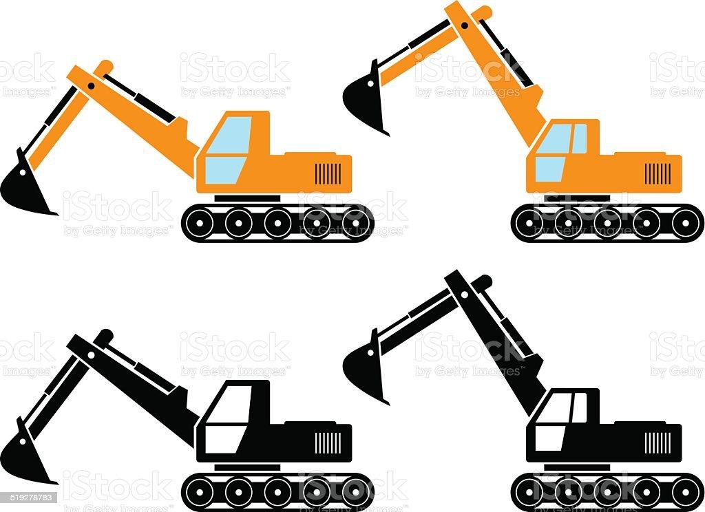 Excavator icons vector art illustration