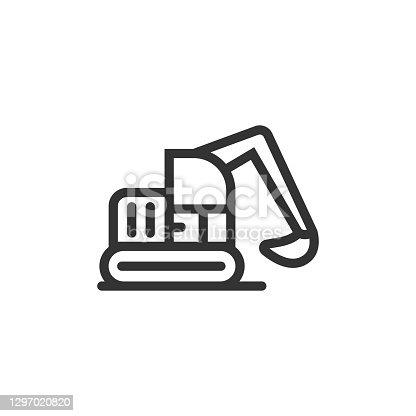 istock Excavator Line Icon 1297020820