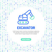 Excavator Line Icons. Simple Outline Icons with Pattern