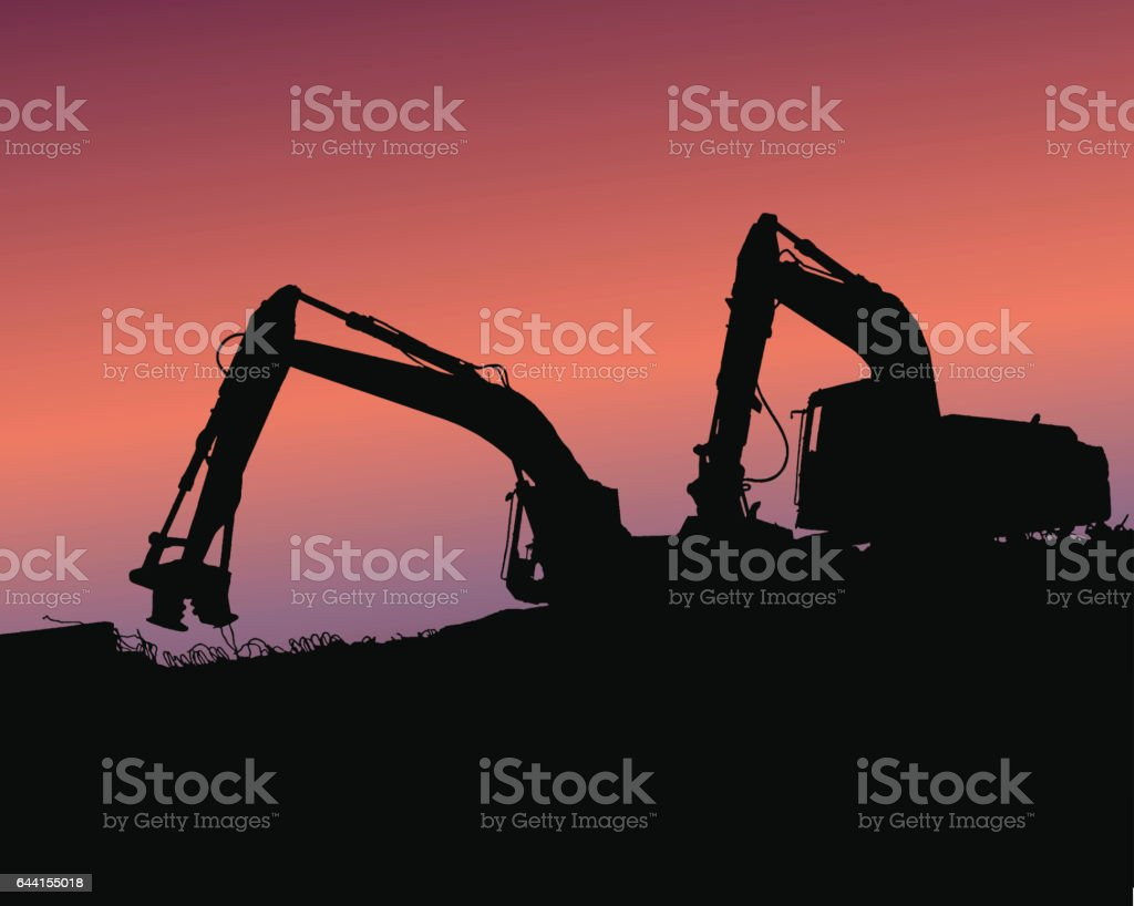 Excavator loaders, tractors and workers digging at industrial construction site vector background illustration vector art illustration