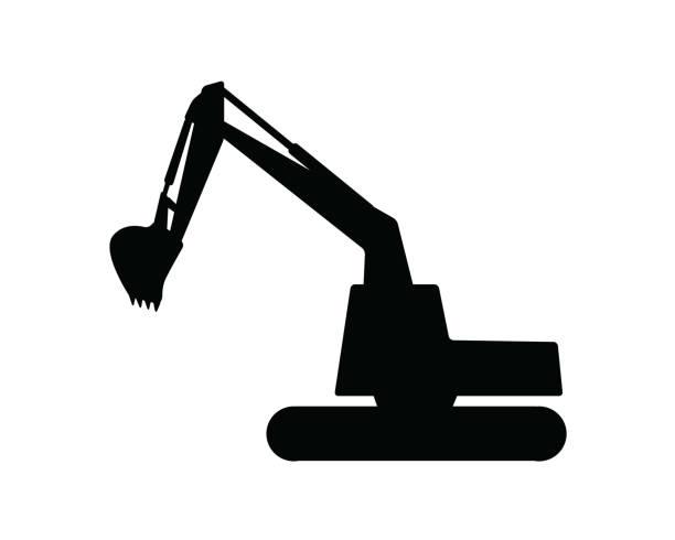 bagger-silhouette-design-darstellung, silhouette-style-design - bagger stock-grafiken, -clipart, -cartoons und -symbole