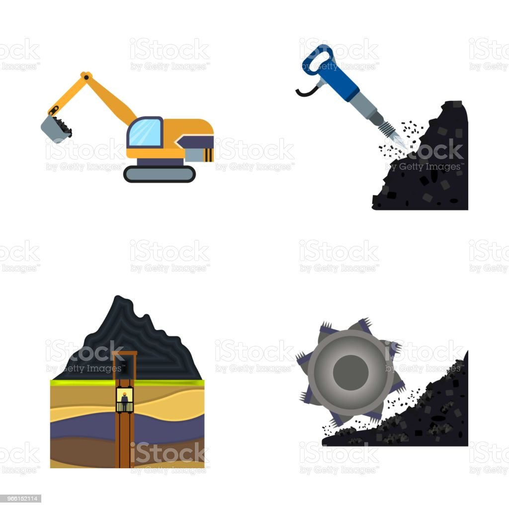 Excavator, tunnel, elevator, coal harvester and other equipment.Mine set collection icons in cartoon style vector symbol stock illustration web. - Royalty-free Business stock vector