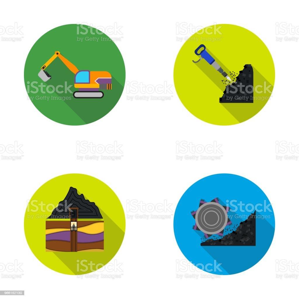 Bagger, Tunnel, Aufzug, Kohle Mähdrescher und andere Geräte. Mir stellen Sammlung Icons im flachen Stil Vektor Symbol Lager Abbildung Web. - Lizenzfrei Arbeit mit Elektrizität Vektorgrafik
