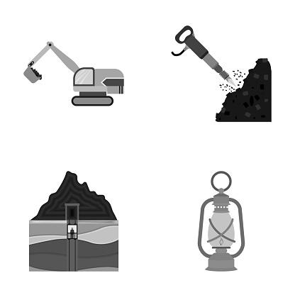 굴 삭 기 터널 엘리베이터 램프 및 다른 장비 내 흑백 스타일 벡터 기호 재고 일러스트 웹 컬렉션 아이콘을 설정합니다 0명에 대한 스톡 벡터 아트 및 기타 이미지