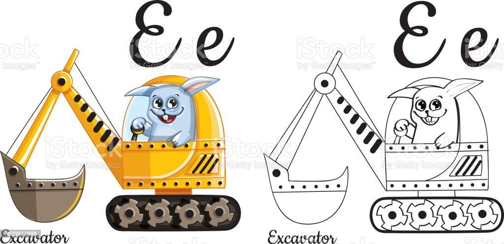Excavador Letra Del Alfabeto Vector E Página Para Colorear - Arte ...
