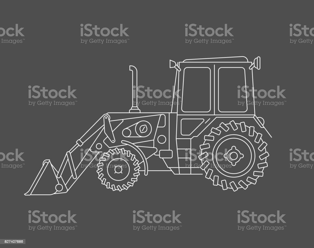 Excavator vector draw vector art illustration