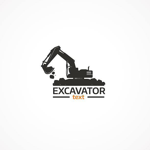 excavator. - bagger stock-grafiken, -clipart, -cartoons und -symbole