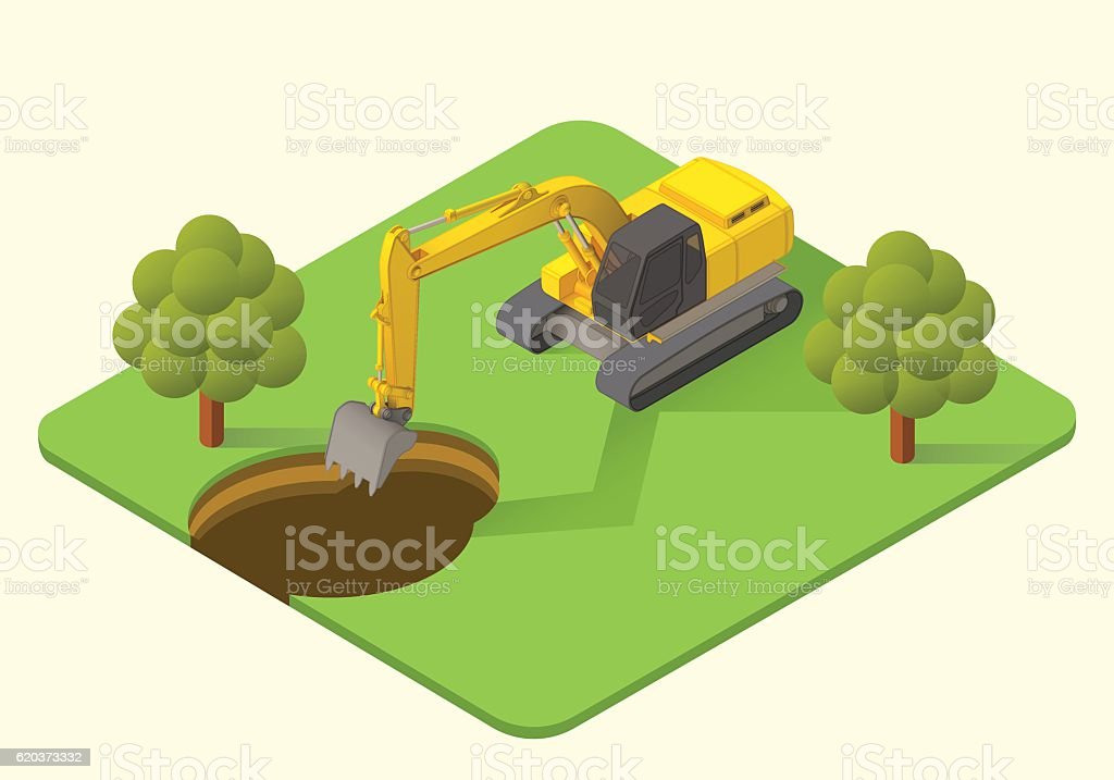 excavator vector illustration excavator vector illustration - arte vetorial de stock e mais imagens de amarelo royalty-free