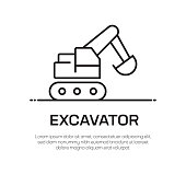 Excavator Vector Line Icon - Simple Thin Line Icon, Premium Quality Design Element