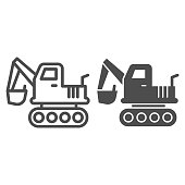 Excavator vehicle line and solid icon. Crane forklift loader and digger truck symbol, outline style pictogram on white background. Construction sign for mobile concept and web design. Vector graphics
