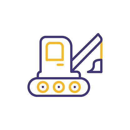 Excavator vehicle line icon. Editable Stroke
