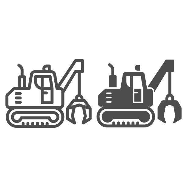illustrazioni stock, clip art, cartoni animati e icone di tendenza di escavatore con linea artigli e icona solida, concetto di attrezzature pesanti, escavatore che fornisce segno di movimento su sfondo bianco, icona bulldozer in stile contorno per mobile e web design. grafica vettoriale. - metal robot in logistic factory