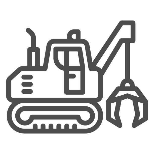 illustrazioni stock, clip art, cartoni animati e icone di tendenza di escavatore con icona della linea artigli, concetto di attrezzatura pesante, escavatore che fornisce segno di movimento su sfondo bianco, icona bulldozer in stile contorno per mobile e web design. grafica vettoriale. - metal robot in logistic factory