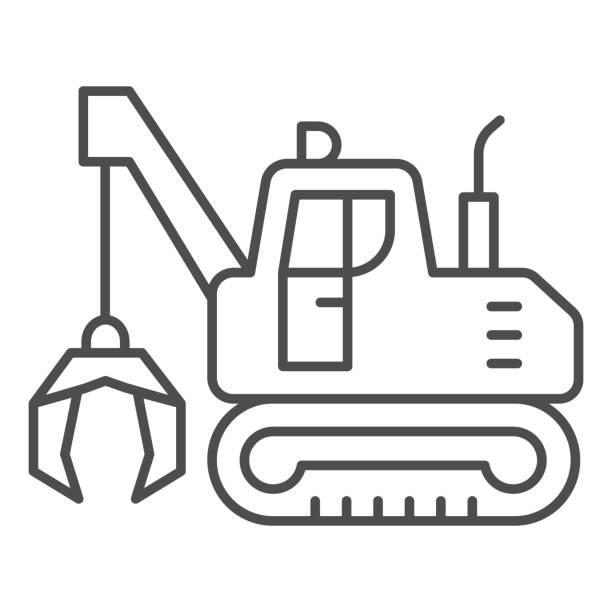 illustrazioni stock, clip art, cartoni animati e icone di tendenza di escavatore con artigli icona linea sottile, concetto di attrezzature pesanti, escavatore che fornisce segno di movimento su sfondo bianco, icona bulldozer in stile contorno per mobile e web design. grafica vettoriale. - metal robot in logistic factory