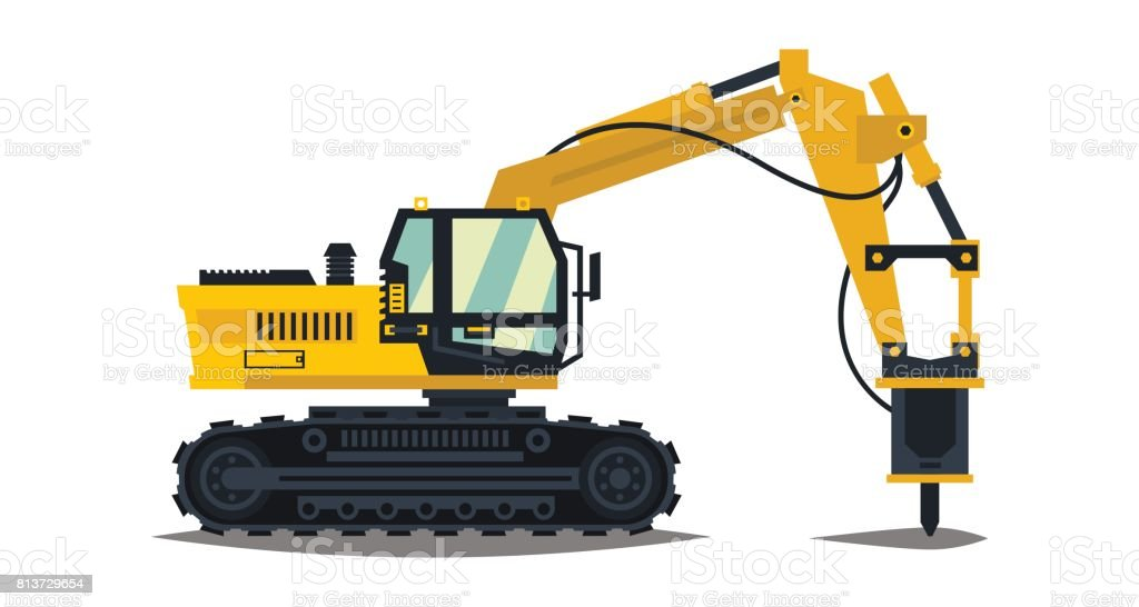 Excavator With His Hammer Hydraulic Crusher Yellow Isolated On White Background Construction