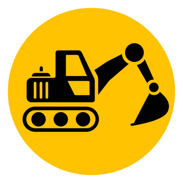 excavator yellow circle icon vector art illustration