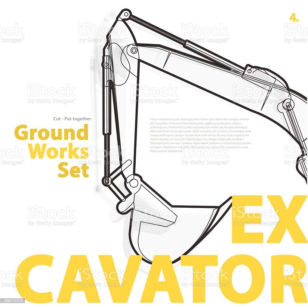 Bagger gelbe Typografie ein Satz von Boden ist Geräte Fahrzeuge. – Vektorgrafik