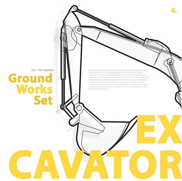 Excavator yellow typography set of ground works machines vehicles. vector art illustration
