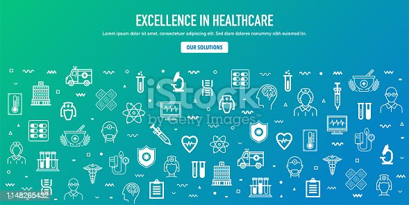 Excellence in healthcare outline style web banner design. Line vector icons for infographics, mobile and web designs.