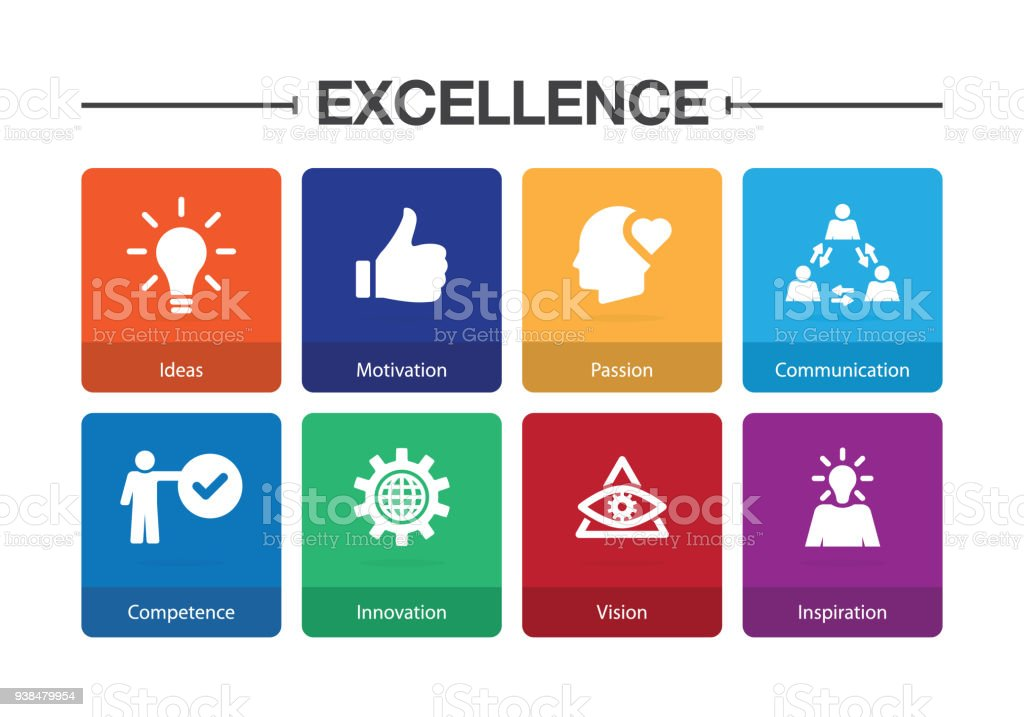 Excellence Infographic Icon Set vector art illustration