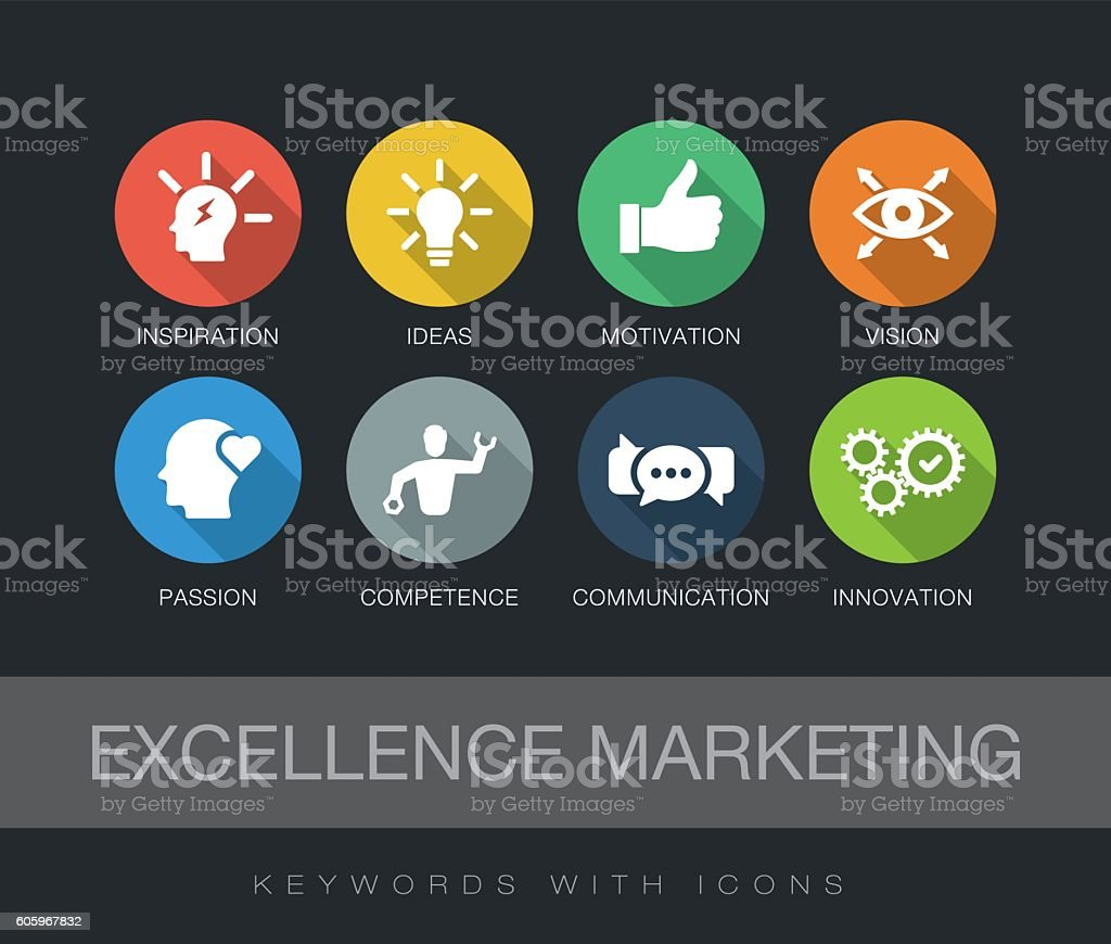 Excellence Marketing keywords with icons vector art illustration