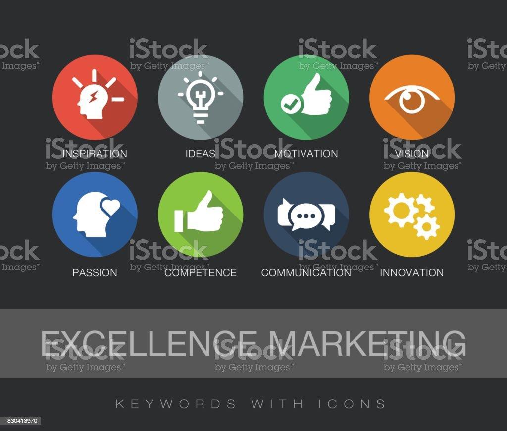 Palavras-chave Marketing de excelência com ícones - ilustração de arte em vetor