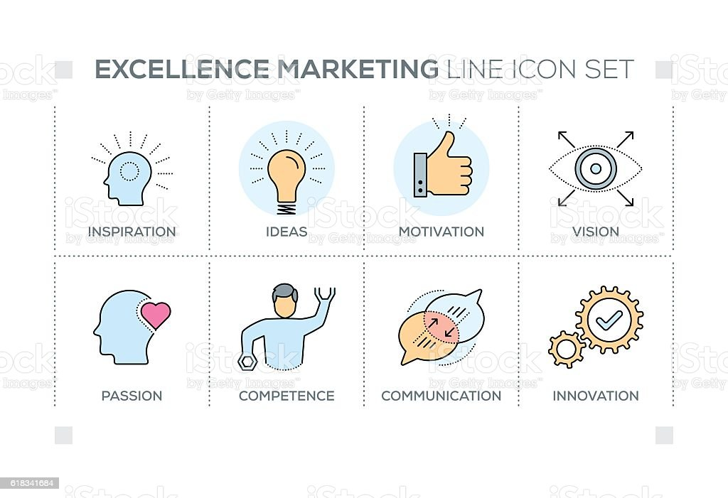 Excellence Marketing keywords with line icons vector art illustration