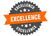 excellence sign. excellence orange-black circular band label