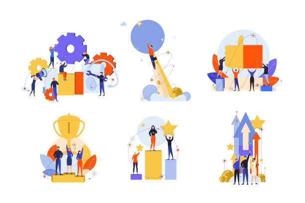 Excellence, success, motivation, achievement, satisfaction, win, innovation set concept Excellence, success, motivation, achievement, success, win, innovation set concept. Business people businessmen women managers with like, approval. Exellence motivation or goal achievement. achievement stock illustrations
