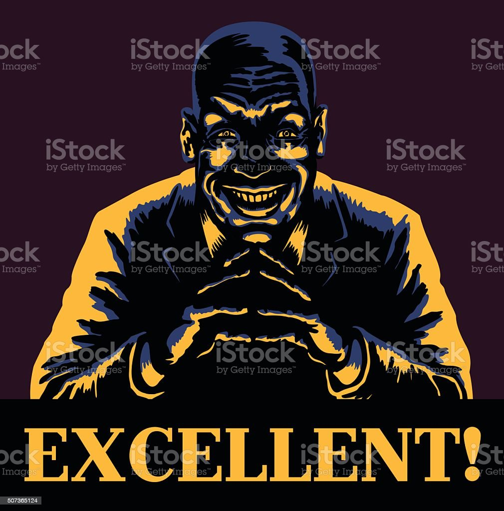 Excellent! Evil bald man villain pleased about evil deeds vector art illustration