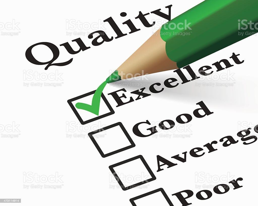 Excellent Quality Survey Checklist vector art illustration