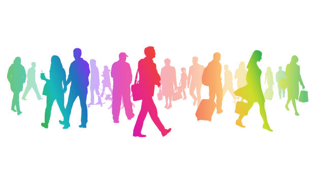 Exceptionally Large Crowd Of Silhouettes Rainbow vector art illustration