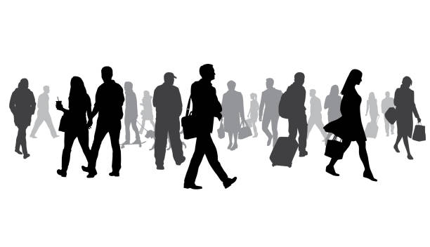 exceptionally large crowd of silhouettes - business people stock illustrations