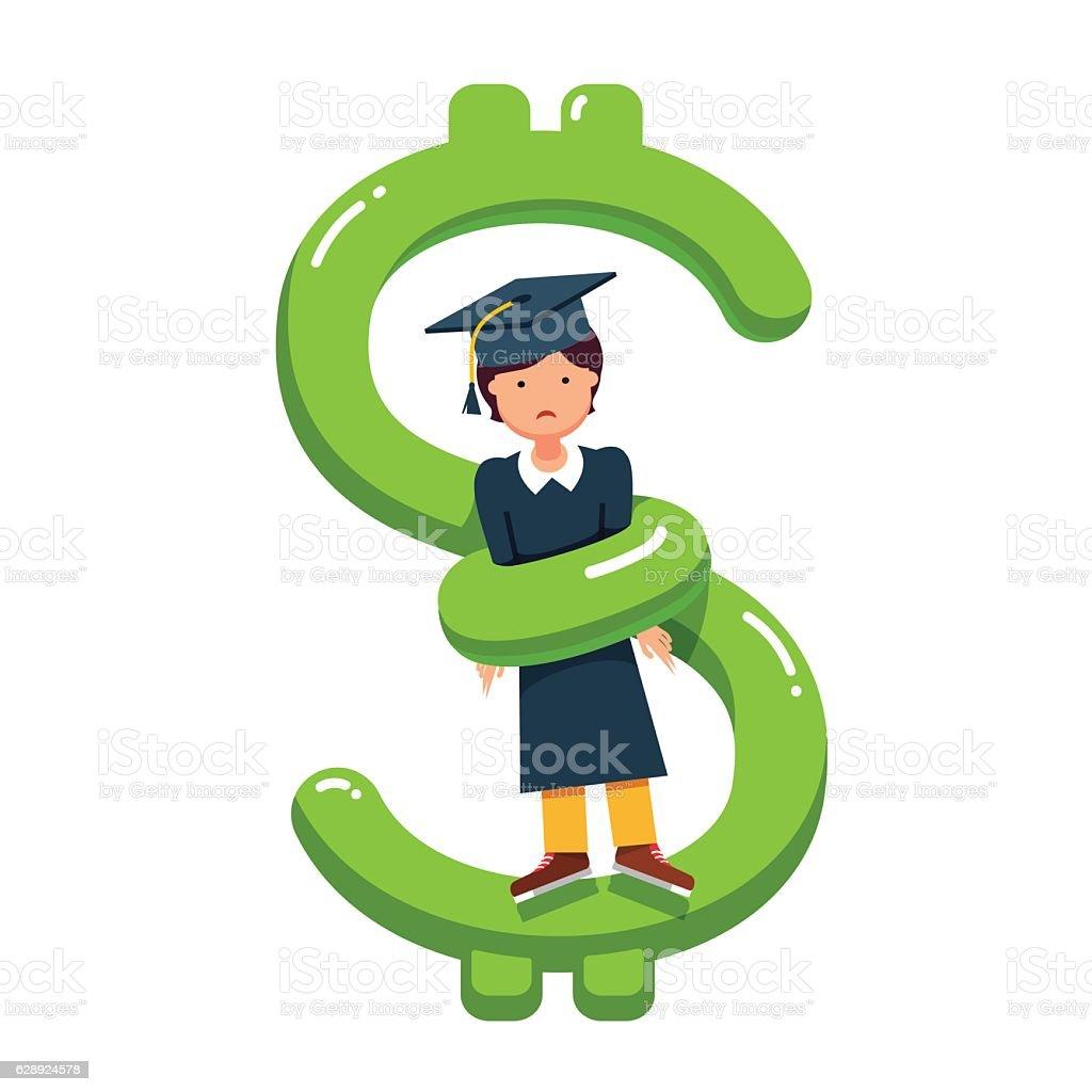 Excessive education debt price metaphor vector art illustration