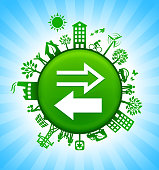 Exchange Environment Green Button Background on Blue Sky