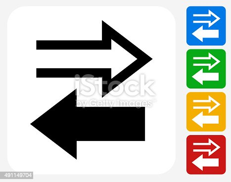 Exchange Icon. This 100% royalty free vector illustration features the main icon pictured in black inside a white square. The alternative color options in blue, green, yellow and red are on the right of the icon and are arranged in a vertical column.