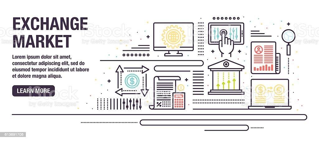 Exchange Market vector art illustration