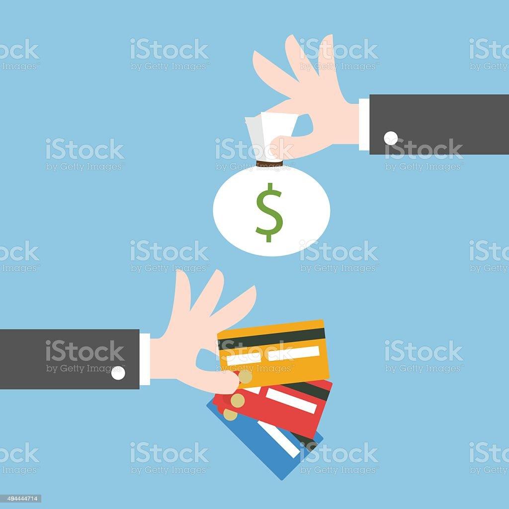 Exchange money for credit card. Flat design vector art illustration