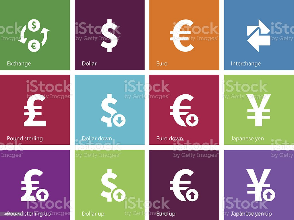 Exchange Rate icons on color background. vector art illustration