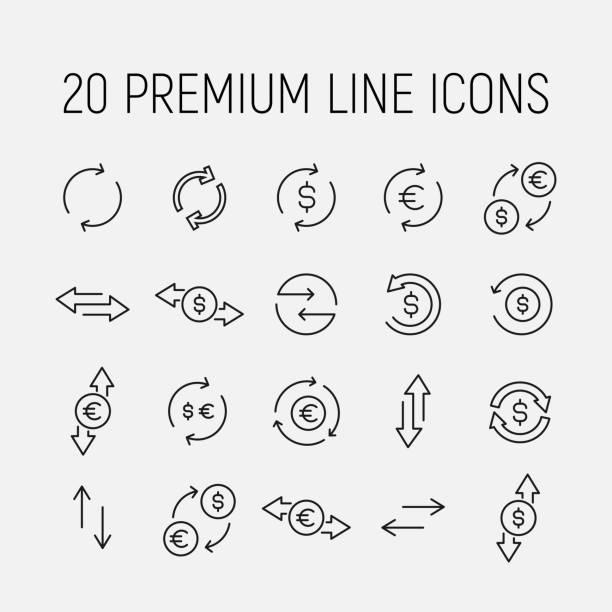 ilustrações de stock, clip art, desenhos animados e ícones de exchange related vector icon set. - circular economy