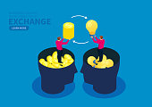 Exchange, two businessmen exchange gold coins and light bulbs with each other