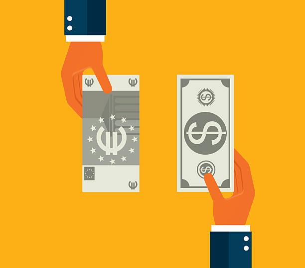 Exchanging dollar and euro Exchanging dollar and euro euro symbol stock illustrations