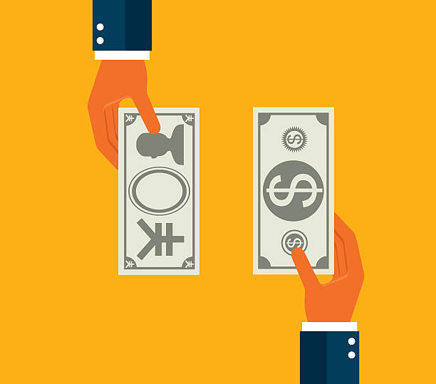 Exchanging dollar and Japanese Yen Exchanging dollar and Japanese Yen exchange rate stock illustrations