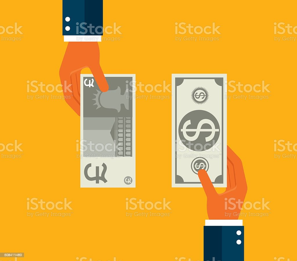 Exchanging dollar and Pound vector art illustration