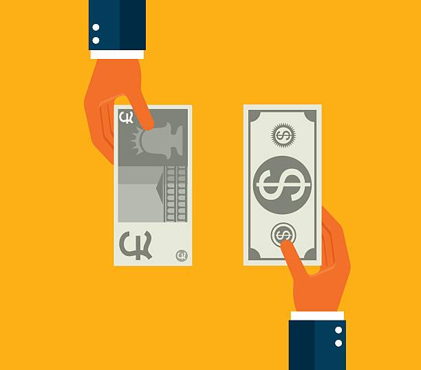 смена доллар, фунт - символ фунта stock illustrations